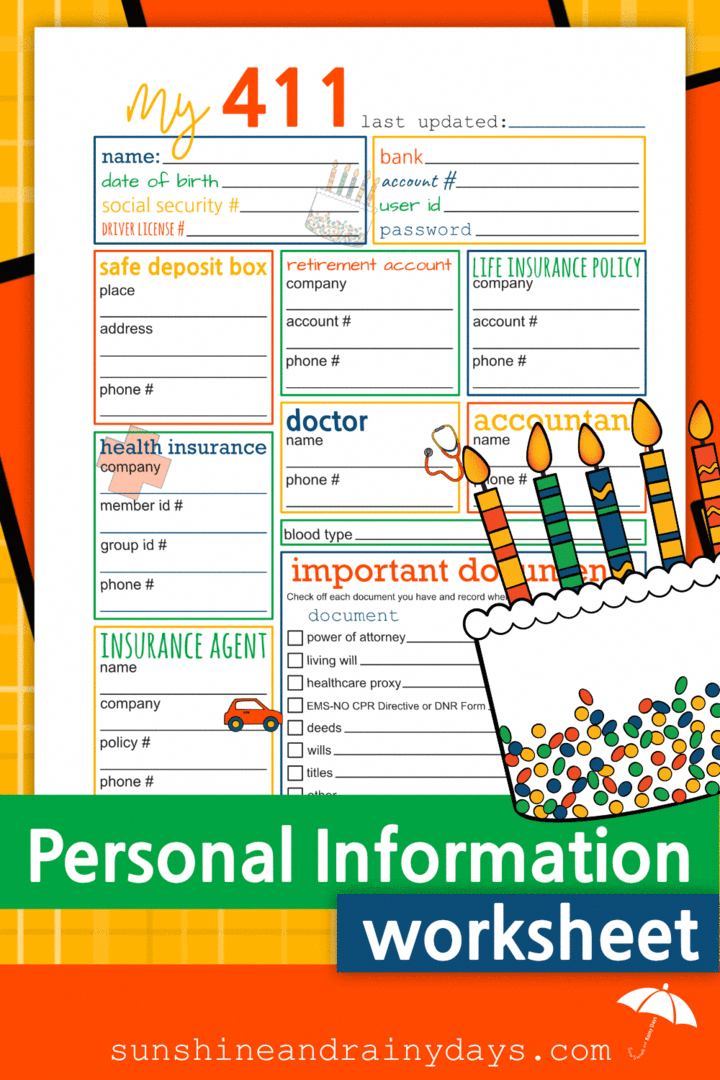 Personal Information Worksheet Pdf In 2020 Medical Health