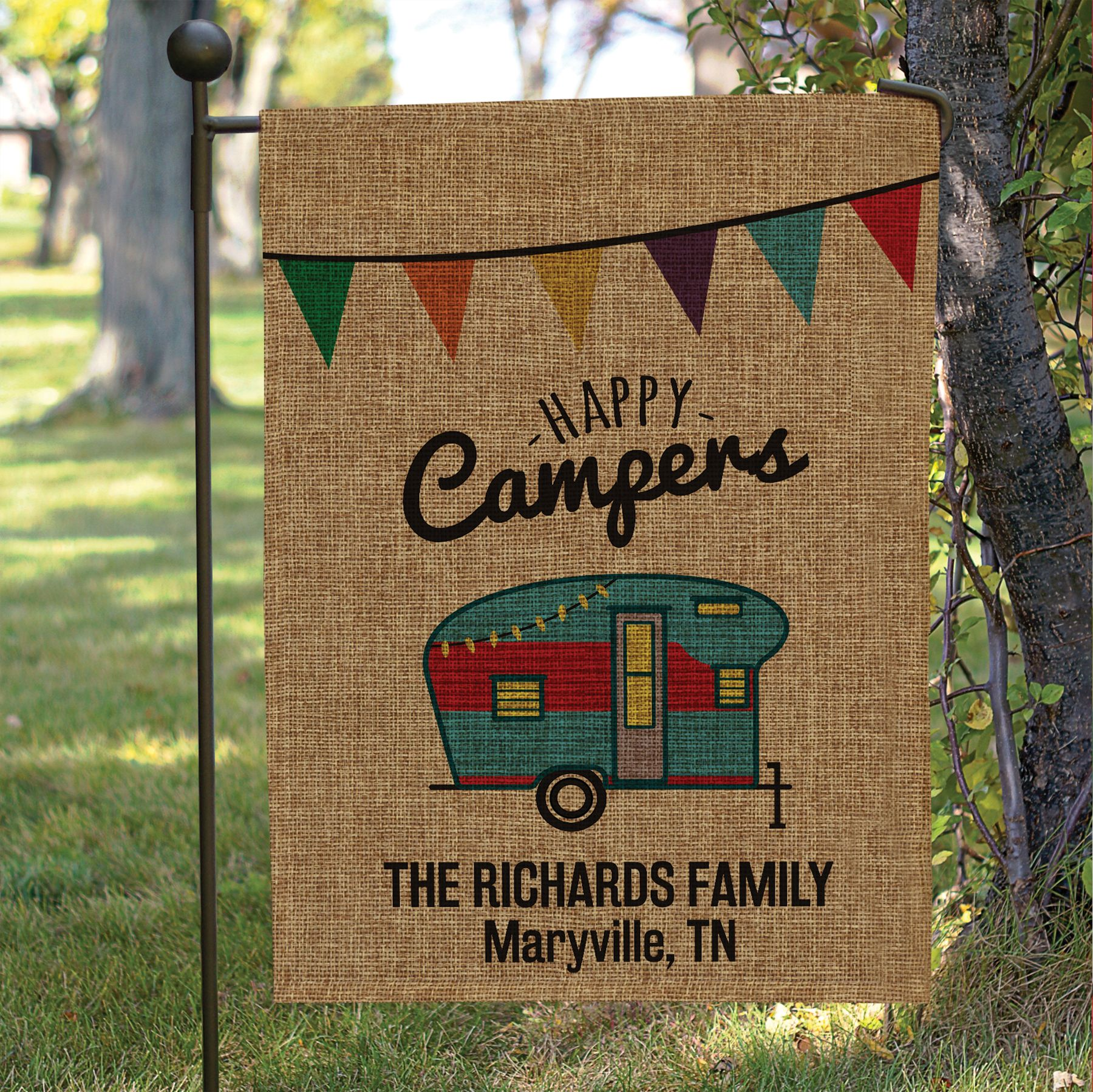 Personalized Happy Camper Burlap Garden Flag | Sunshine T@B | Wish ...