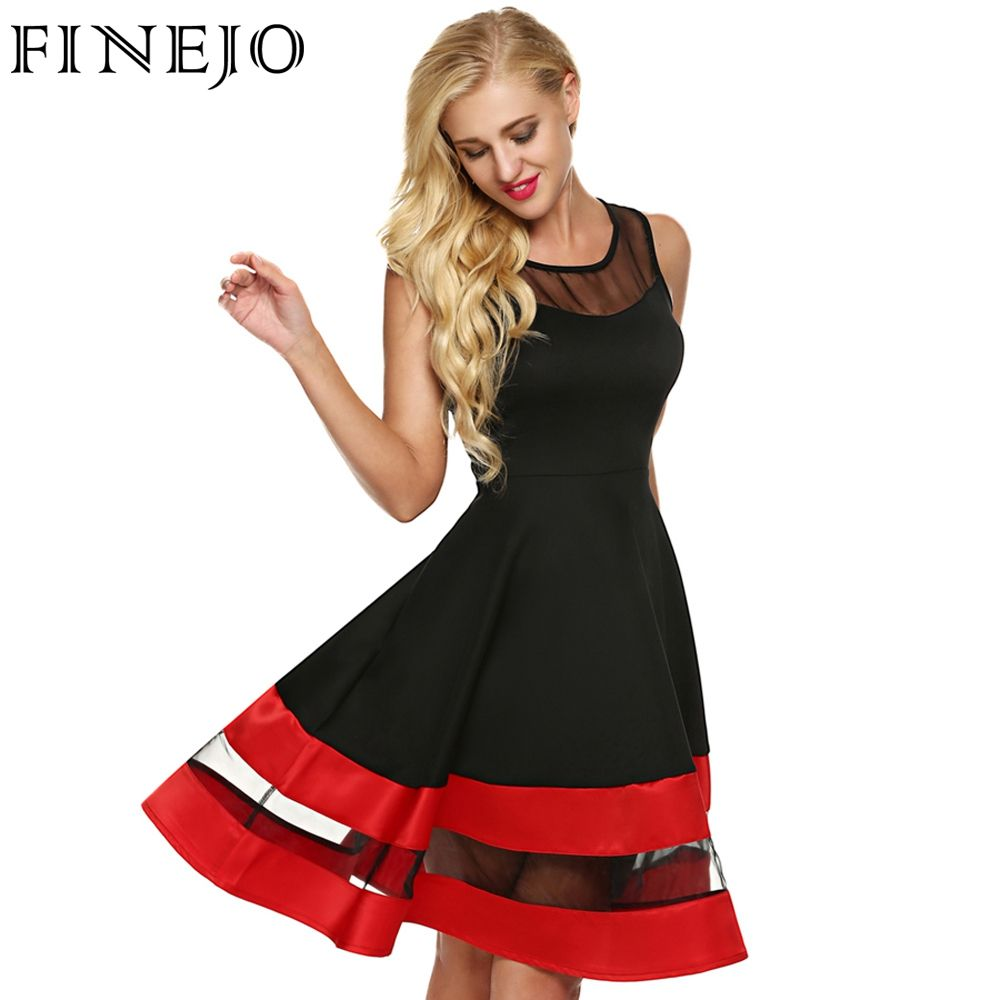 Organza patchwork aline party dress hourglass contrast color and