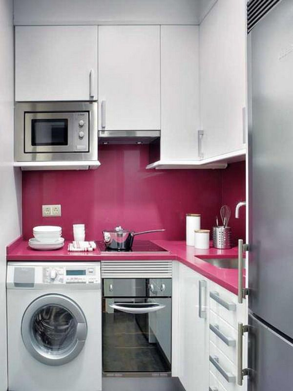 Ideas For Small Kitchens In Apartments Part - 45: Like The Splash Back In Different Colour And The Microwave. Smart Small  Kitchen Design Idea For Apartment Or Small House