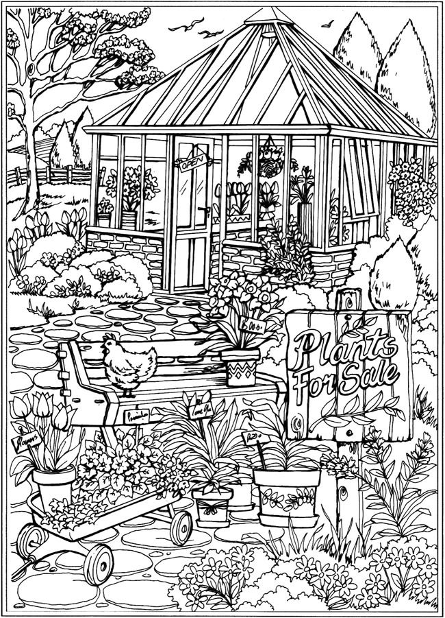 welcome to dover publications creative haven spring scenes coloring book colouring in. Black Bedroom Furniture Sets. Home Design Ideas