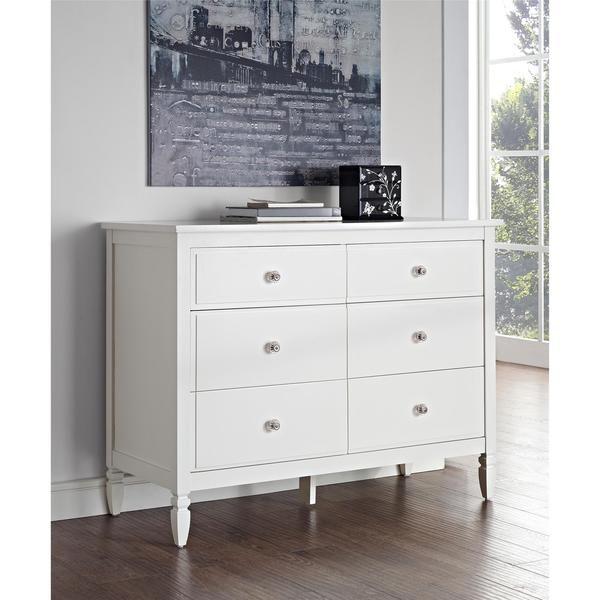 Dorel Living Vivienne White Sixdrawer Dresser  My Girls Endearing White Bedroom Dresser Decorating Design
