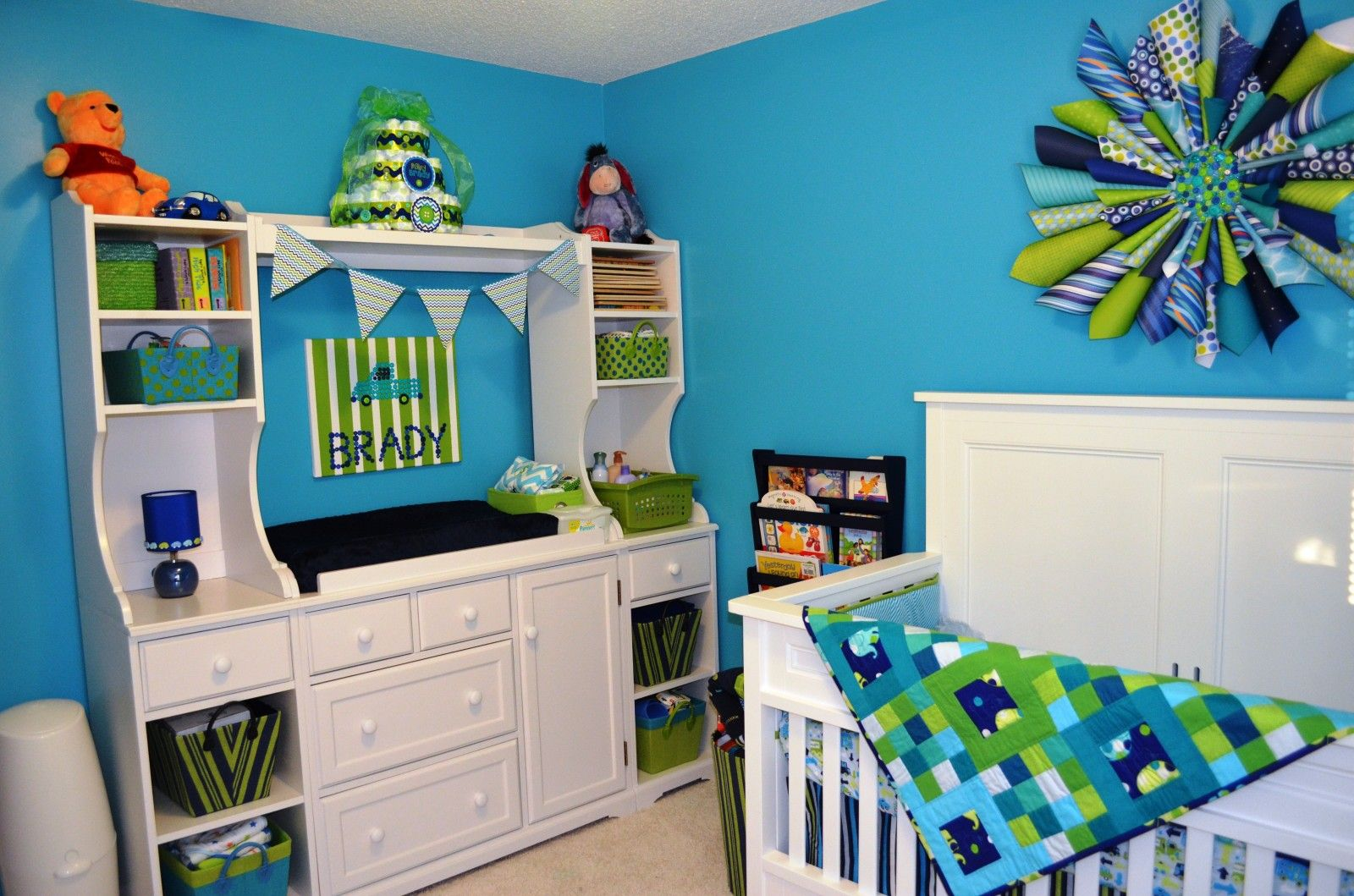 Turquoise Navy Blue And Lime Green Nursery Boy On