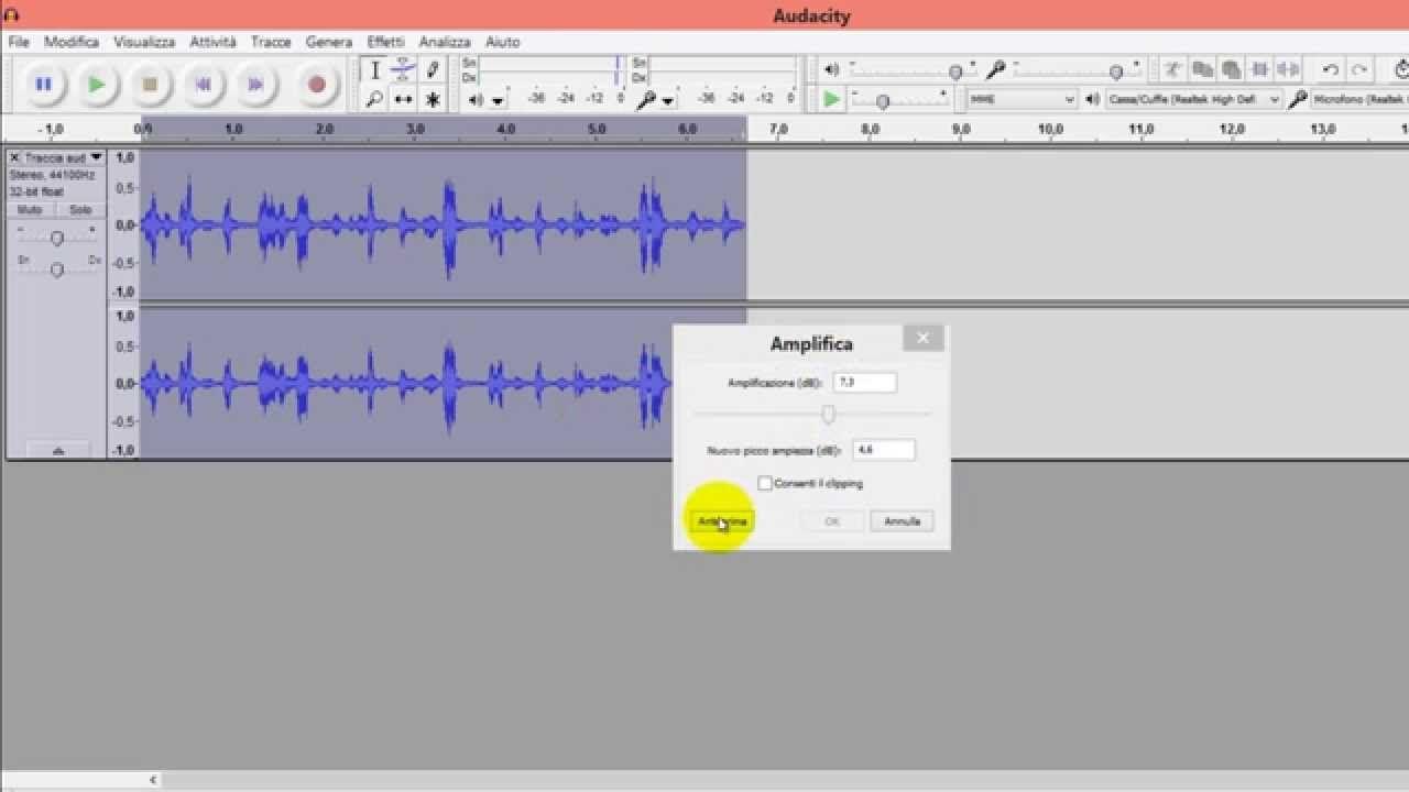 Come registrare audio da microfono o da streaming con Audacity.