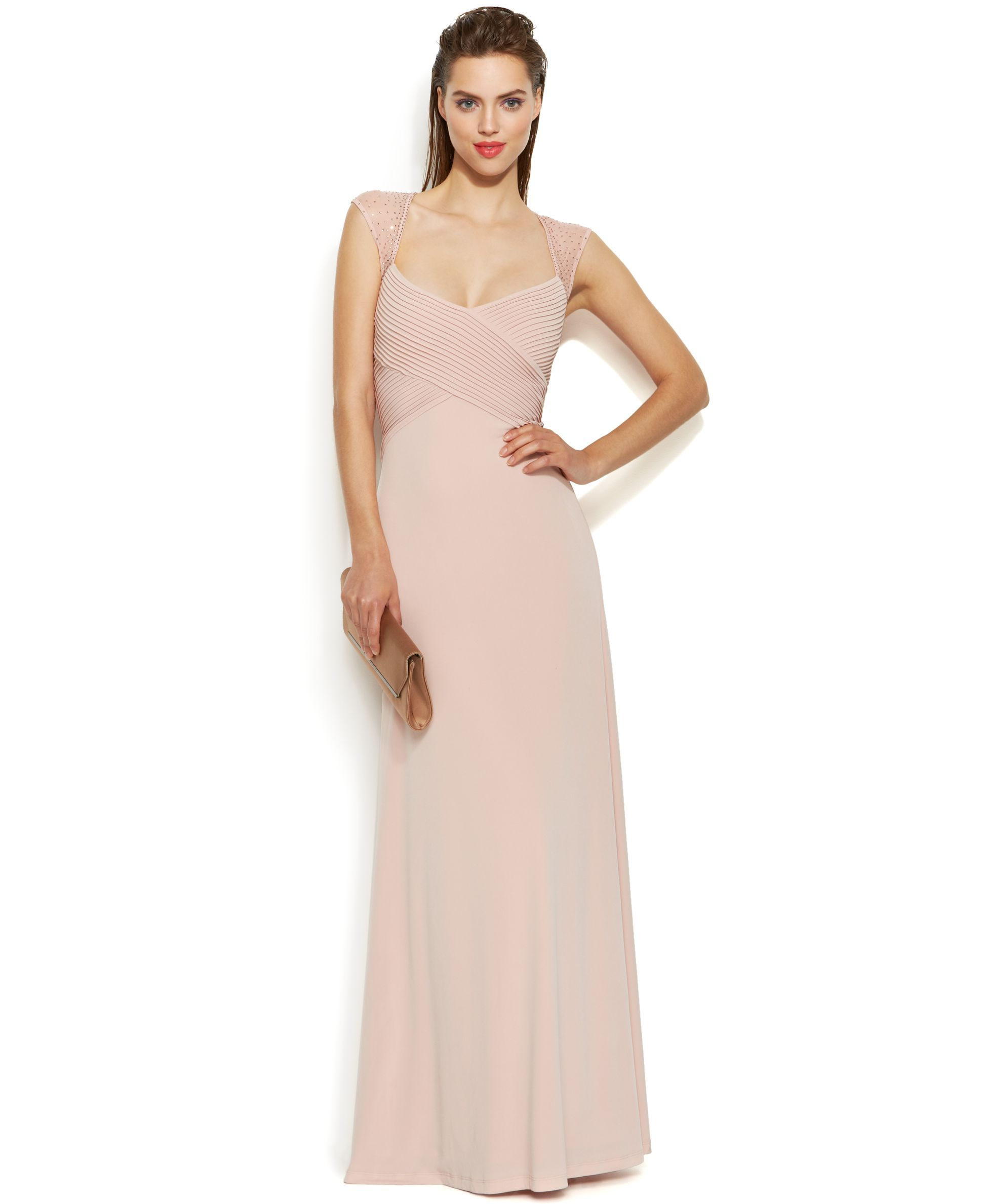 e14fb13e716 Calvin Klein Embellished Sleeve Illusion Crisscross Gown Pink Gowns