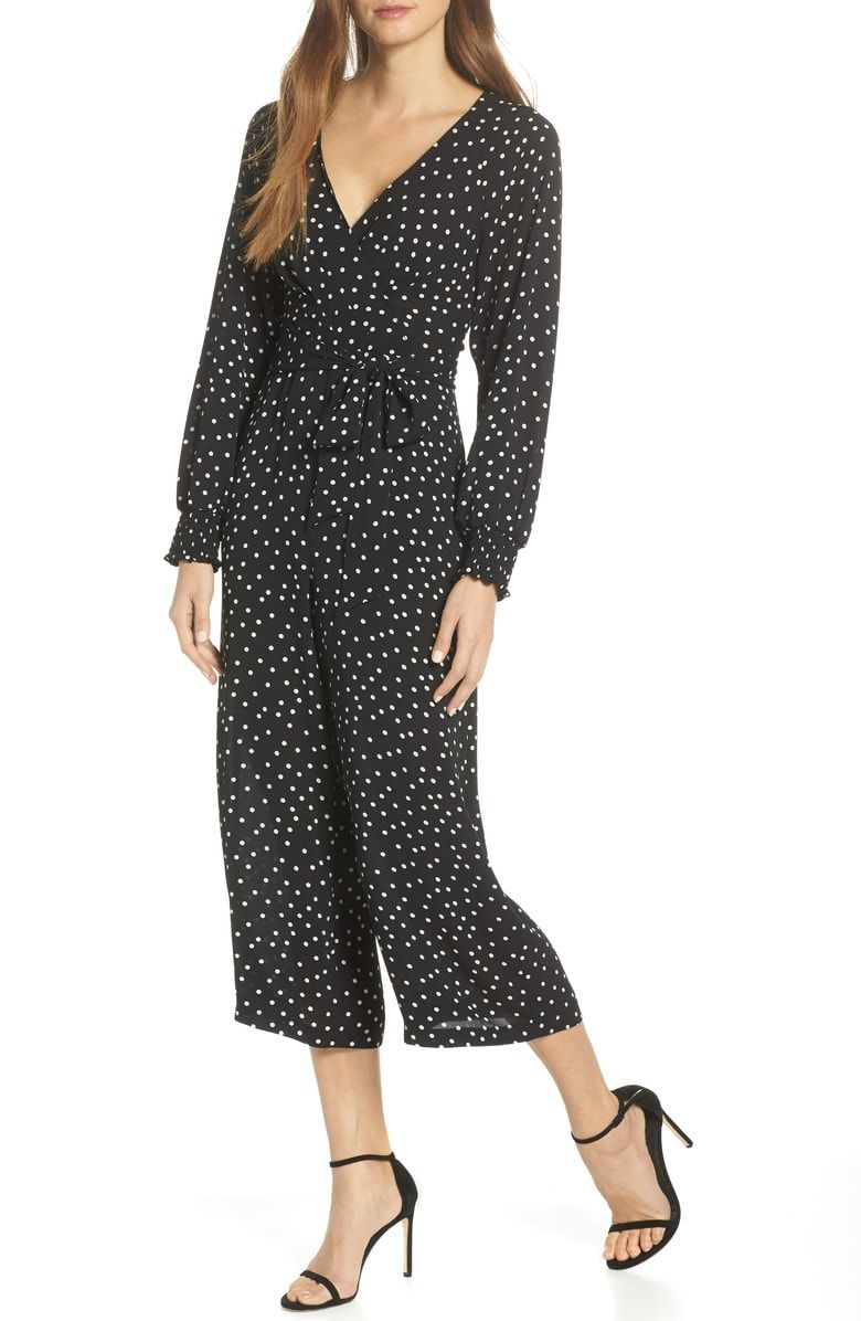 45f0a25f984 Free shipping and returns on Eliza J Whistles Faux Wrap Crop Jumpsuit at  Nordstrom.com. Rich texture and spot-on patterning combine on a chic and ...