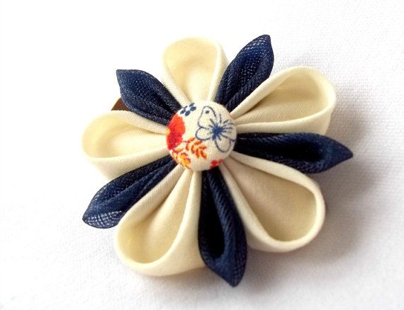 Butterfly Flower Barrette Kanzashi Hair Clip by ScarlettandMaria