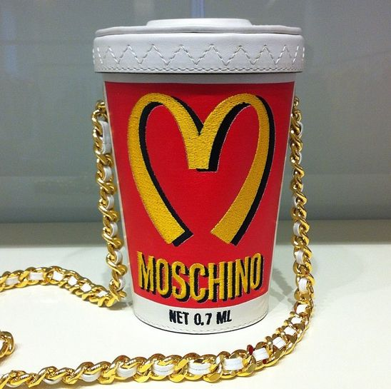 Moschino McDonald Happy Meal Womens Leather Shoulder Bag Red