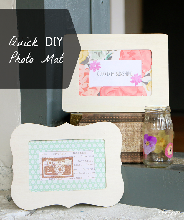 Quickly transform a picture frame with a patterned scrapbook paper mat! You can match the decor of any room with these!