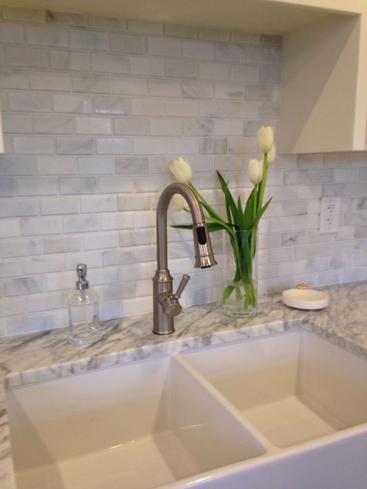 Carrera White Marble 2x4 Subway Tile Beveled Brick Mosaic Kitchen Shower  SAMPLEu2026