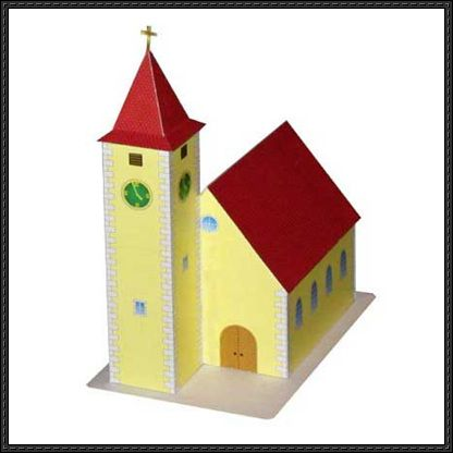 A Simple Church Free Building Paper Model Download Paper Models Cardboard Castle Church
