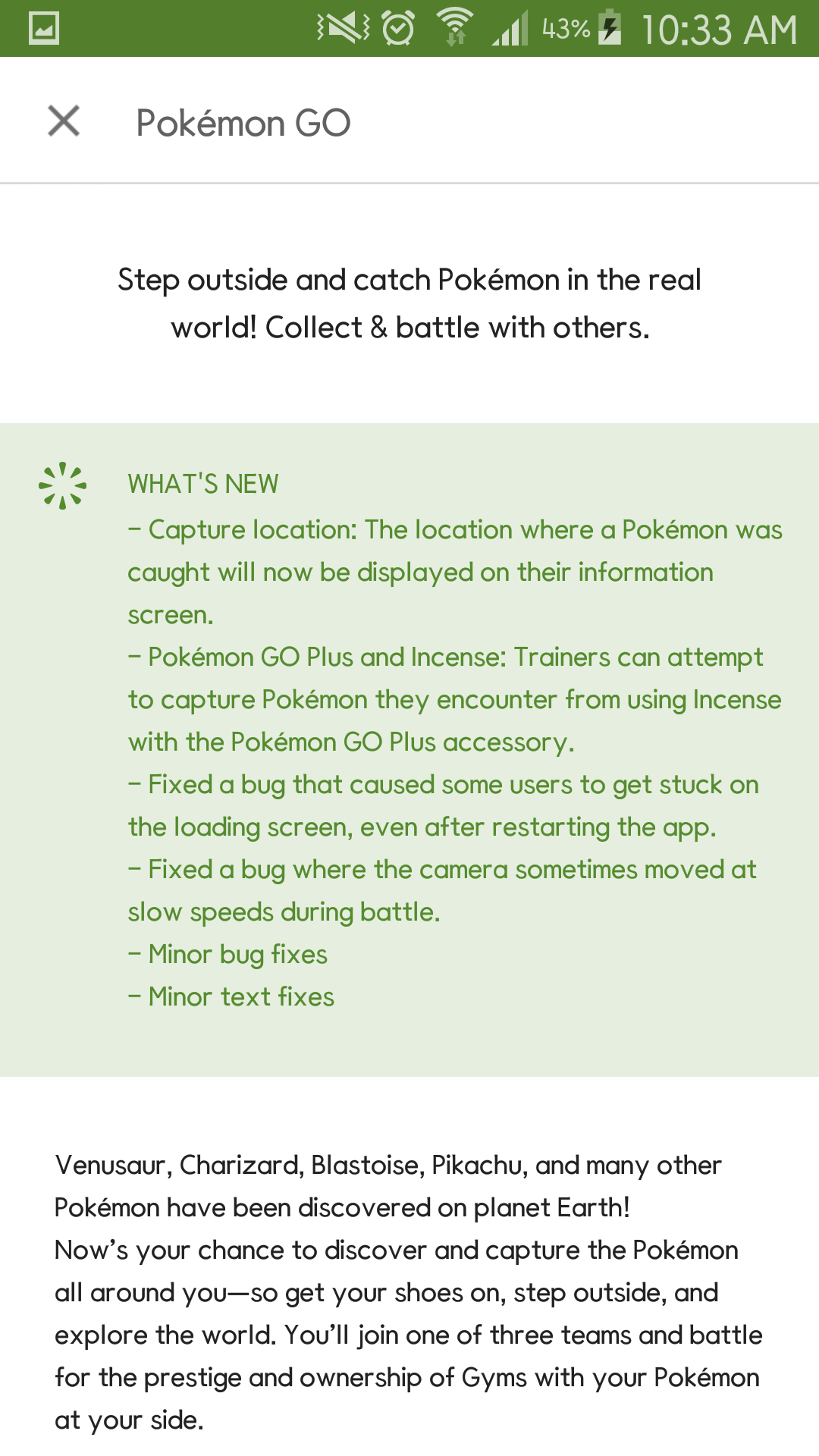 My Pokémon Go client just updated to 0.39.1 !