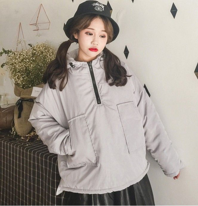 Grey Black Hooded Loose Cotton Padded Coats and