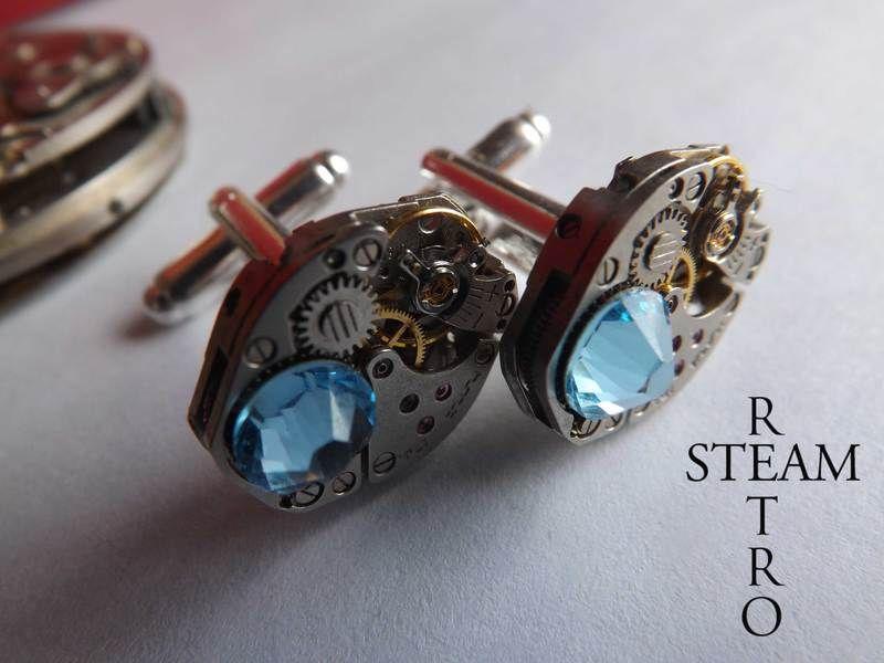 Mens Aquamarine cufflinks - Steampunk Cufflinks from Steamretro by DaWanda.com