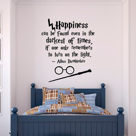 Harry Potter Wall Decal Quote Happiness Can Be Found Even- Hogwarts Wall Decal Harry Potter Vinyl Sticker Nursery Teens Room Kids Decor Q054 & Harry Potter Wall Decal Quote Happiness Can Be Found Even- Hogwarts ...