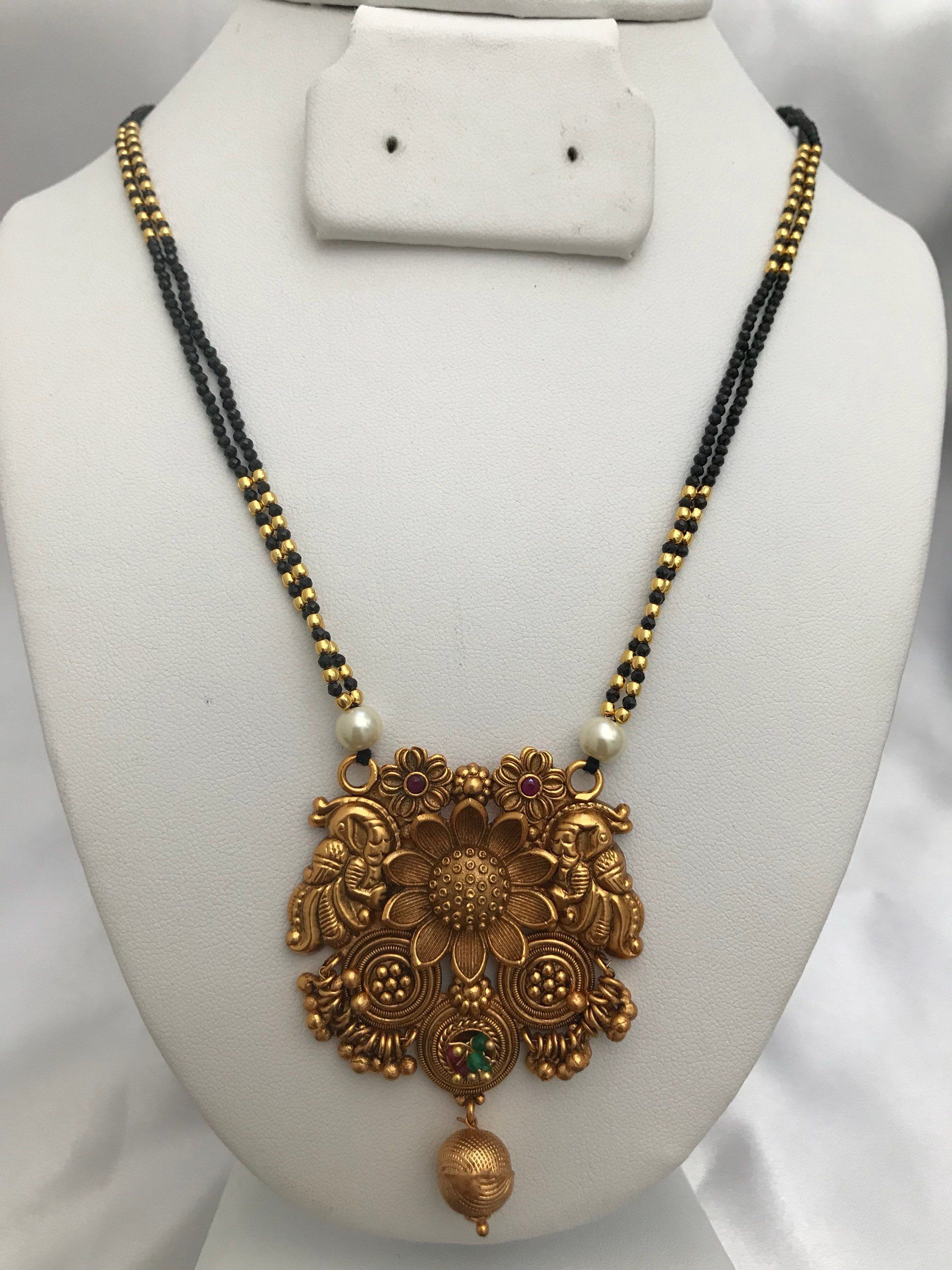 Cute Black Diamond Beads Chain With Antique Look Peacock With