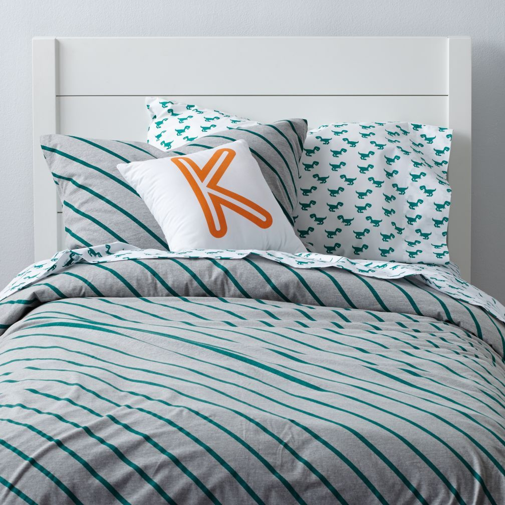Shop Little Prints Kids Duvet Cover (Green Stripes).  Our Little Prints Kids Duvet Cover (Green Stripes) features a neutral grey background with diagonal blue stripes, perfect for your kids' room.  Shop kids bedding today.
