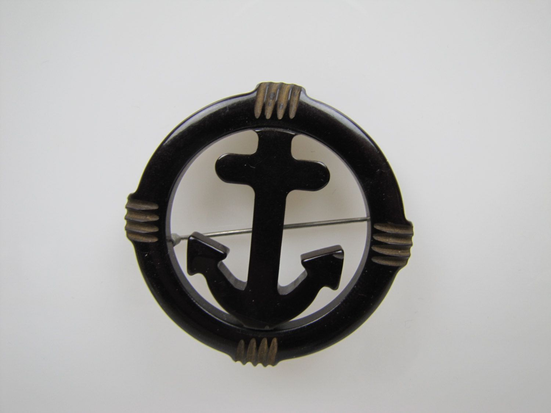 Amazing 1930s US Navy Carved Black Bakelite Anchor Brooch. USN Patriotic Lapel Pin.  World War