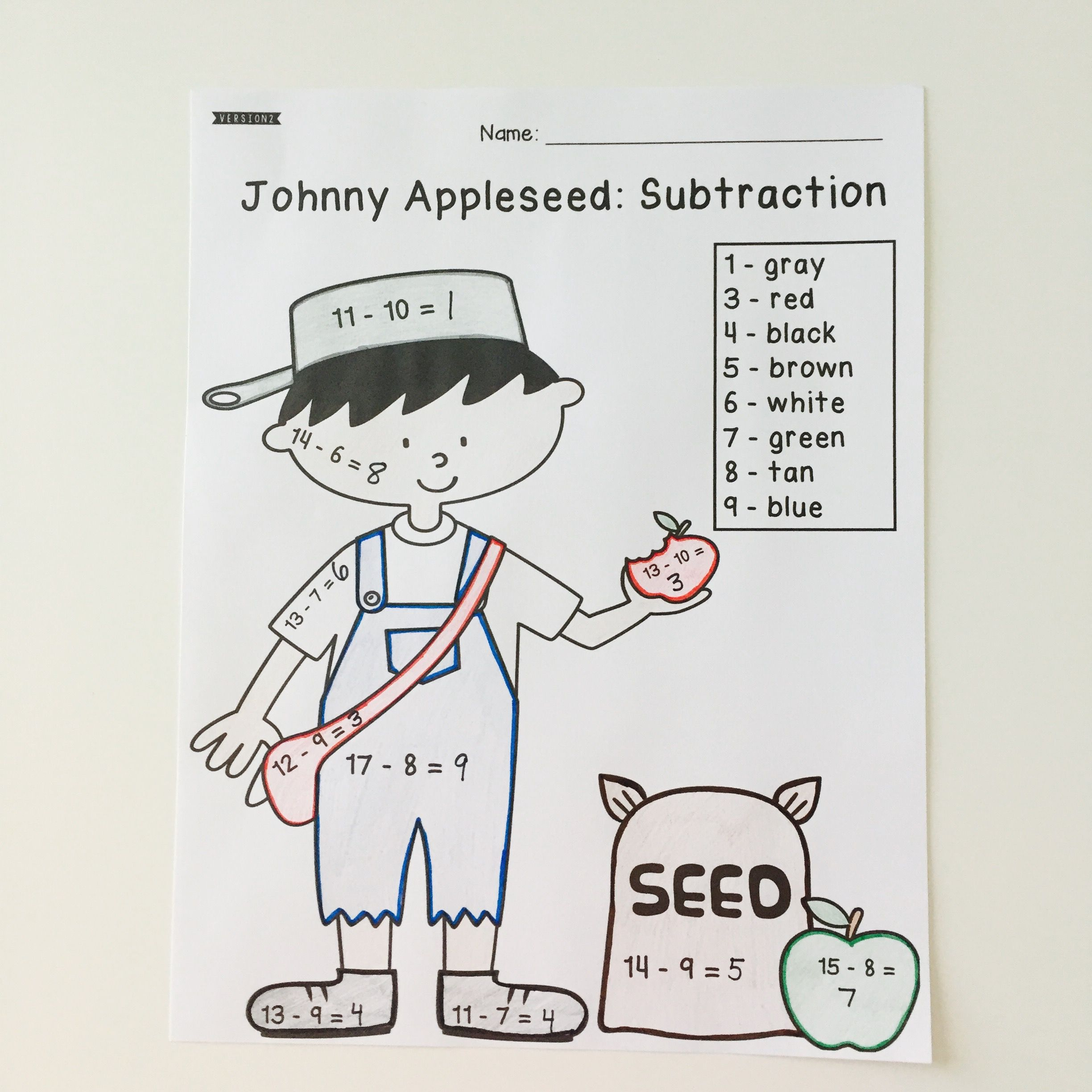Johnny Appleseed Color By Code Addition And Subtraction 4 Different Sheets