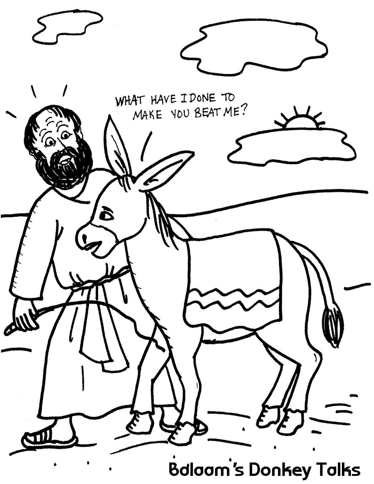 Balaam S Donkey Talks Sunday School Coloring Pages Bible