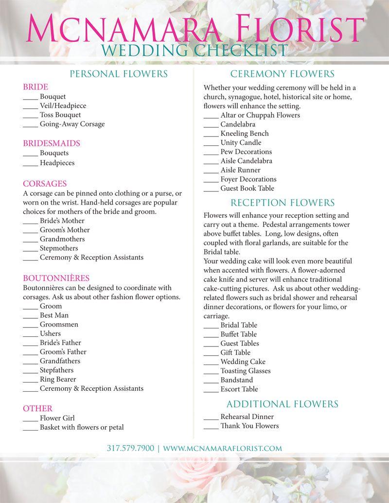 checklist for your wedding flowers mcnamara florist floral checklist wedding tips. Black Bedroom Furniture Sets. Home Design Ideas