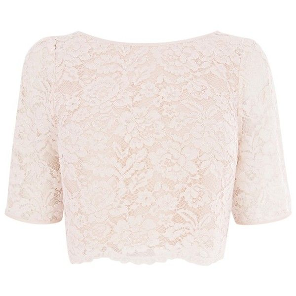 f04f3b2b56d Coast Manon Lace Top, Blush ($24) ❤ liked on Polyvore featuring tops, shirts,  crop tops, long sleeves, floral lace top, lace sleeve top, crop top, ...