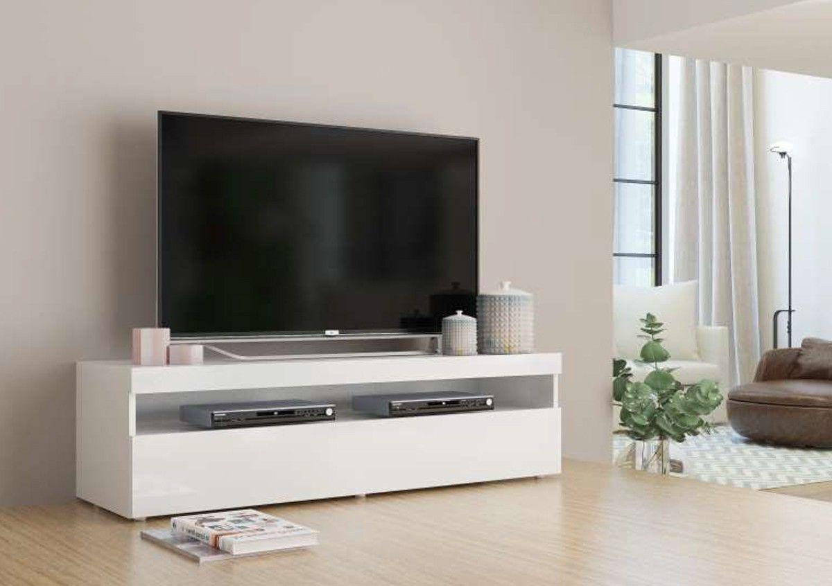 Mobile Tv Moderno Bianco : Porta tv ante ribalta vano a giorno finitura bianco opaco il