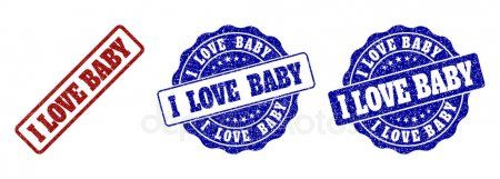 I LOVE BABY Scratched Stamp Seals - Stock Vector ,