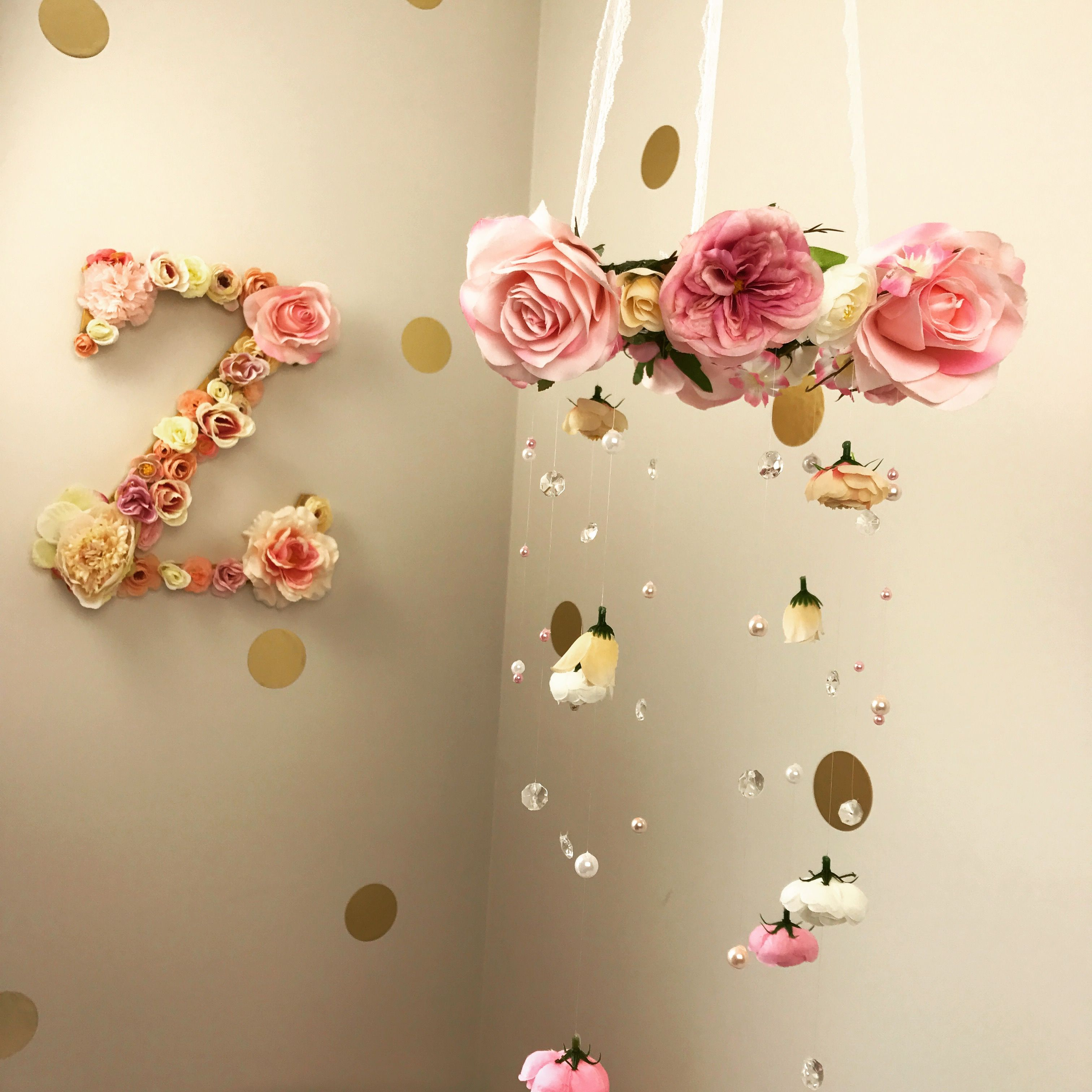 Floral Nursery Chandelier, Nursery Mobiles, Floral Letters, Monograms, Cream, Pink,