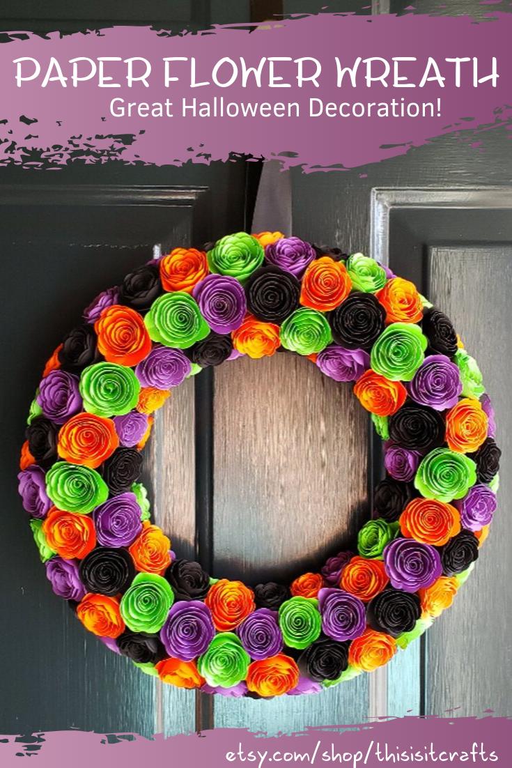 Halloween Paper Flower Wreath Handmade Decorations Front Etsy In 2021 Paper Flower Wreaths Paper Flowers Halloween Paper