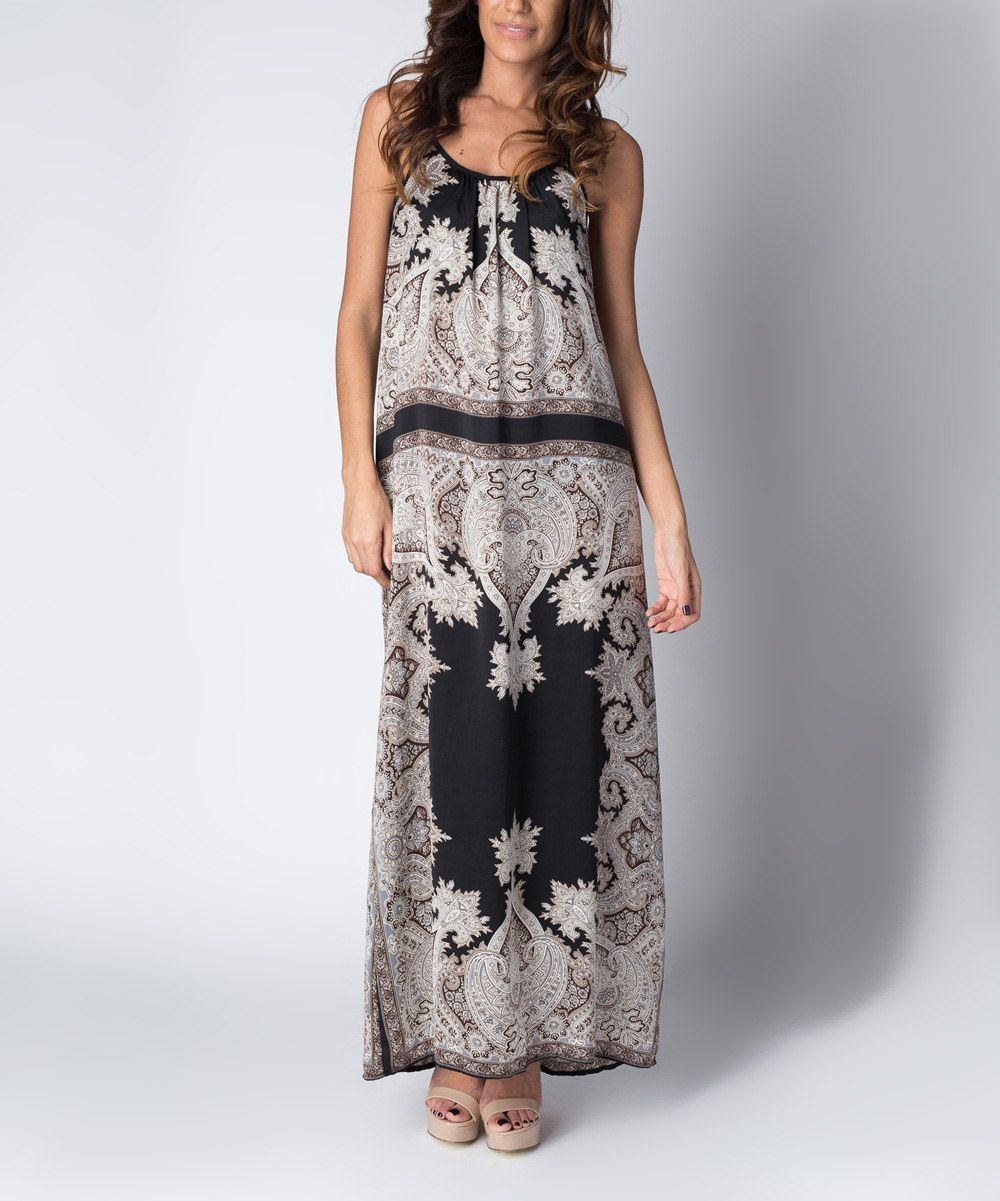 Look at this paradise usa fashion black damask racerback maxi dress