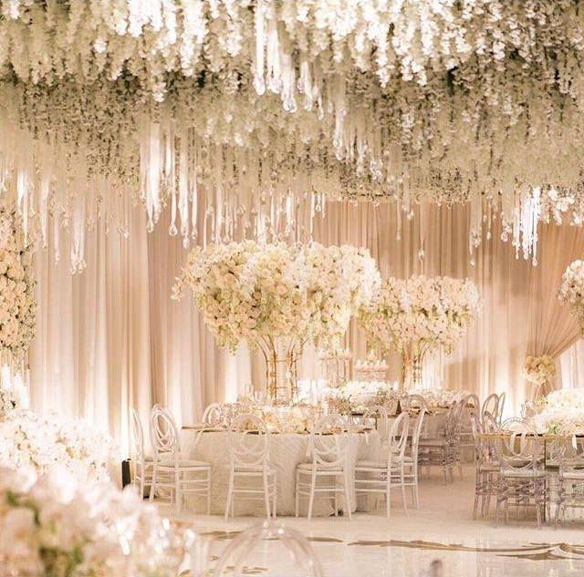 Hanging Wisteria Flowers Make For Such Heavenly Wedding Decor Design By White Lilac Inc Www Wedding Decorations Flower Ceiling Wedding Reception Decorations