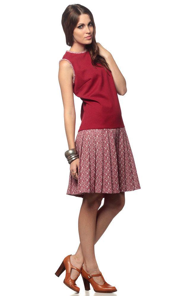 c000adeee5 Mod Scooter Dress 60s Drop Waist Mini Burgundy Red 1960s Pleated Sixties  Vintage 70s Twiggy Sleeveless Space Age Retro Dress Large L.  47.00