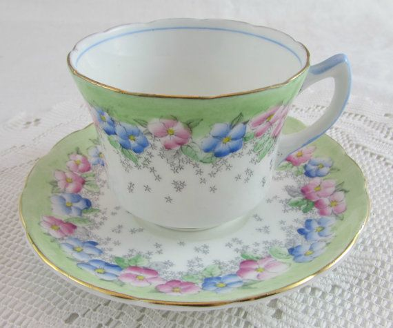 Foley Hand Painted Pastel Colours Floral Tea Cup and Saucer