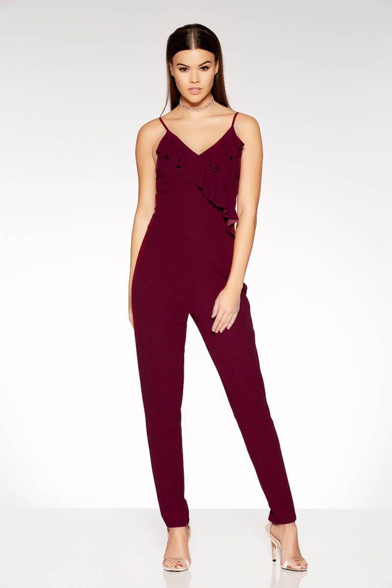 Brand new ex quiz wine frill v neck jumpsuit sizes