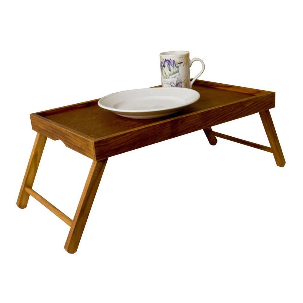 Merveilleux Sweet Home Collection Brown Wood Serving Tray Table With Folding Legs (pine)