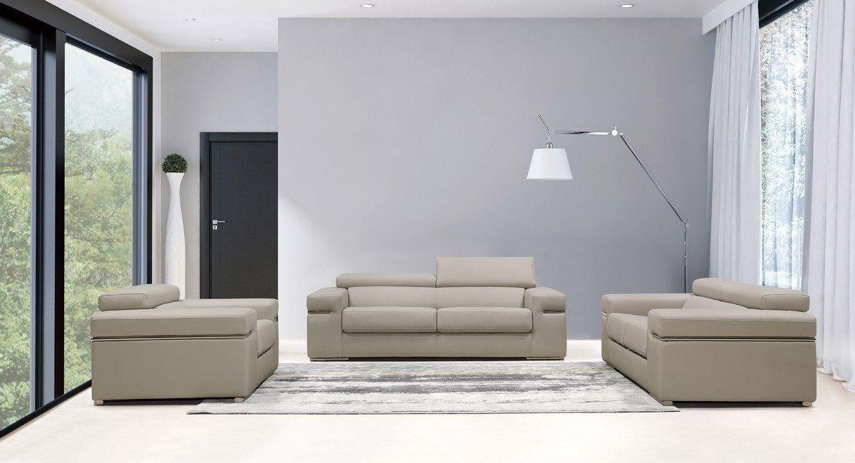 The Divani Casa Atlantis Modern Light Grey Bonded Leather Sofa Set ...
