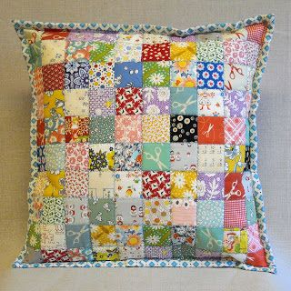 Postage Stamp Quilt Pillow -  bound like a quilt with mitered corners