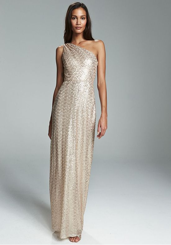 35d3b0fc2c5 Rose gold sequin one shoulder Grecian A-line bridesmaid gown.