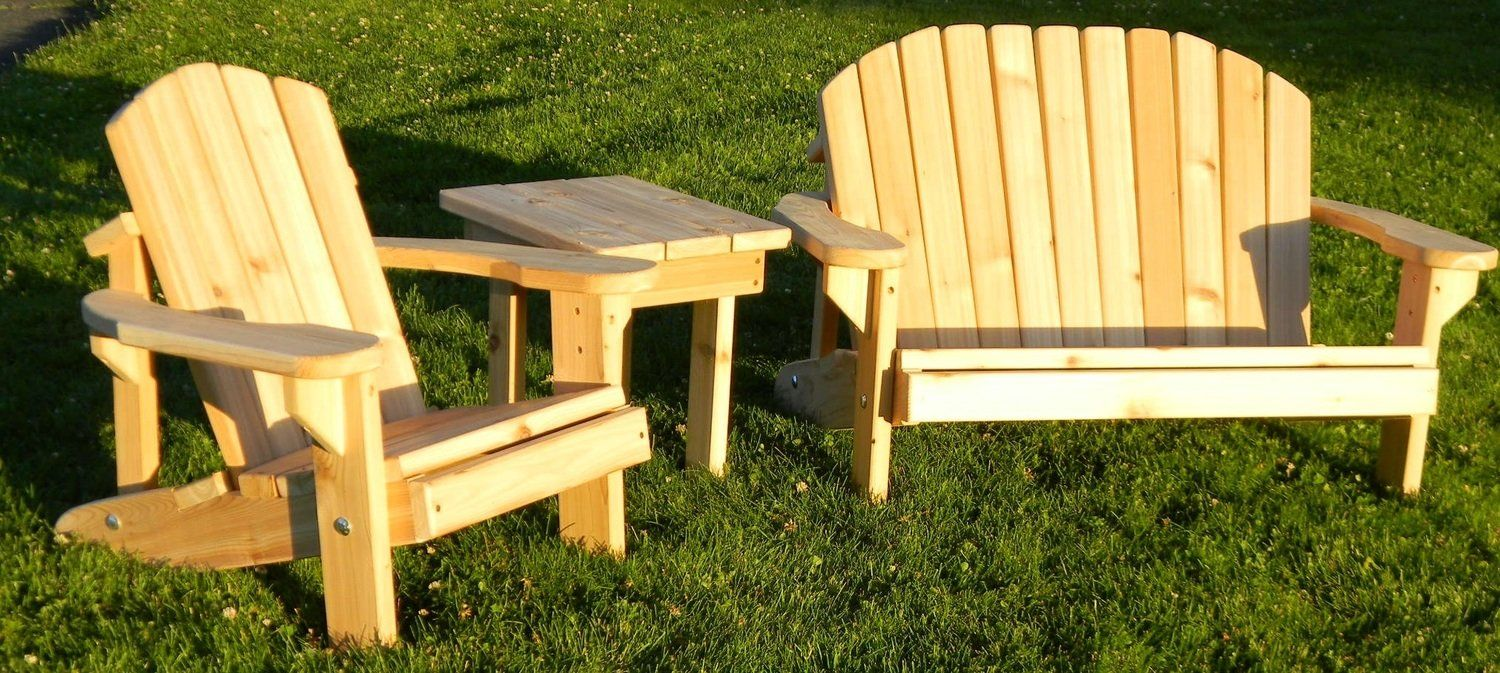 Set 4 Kids Chunky Chair, Bench and Table Outdoor chairs