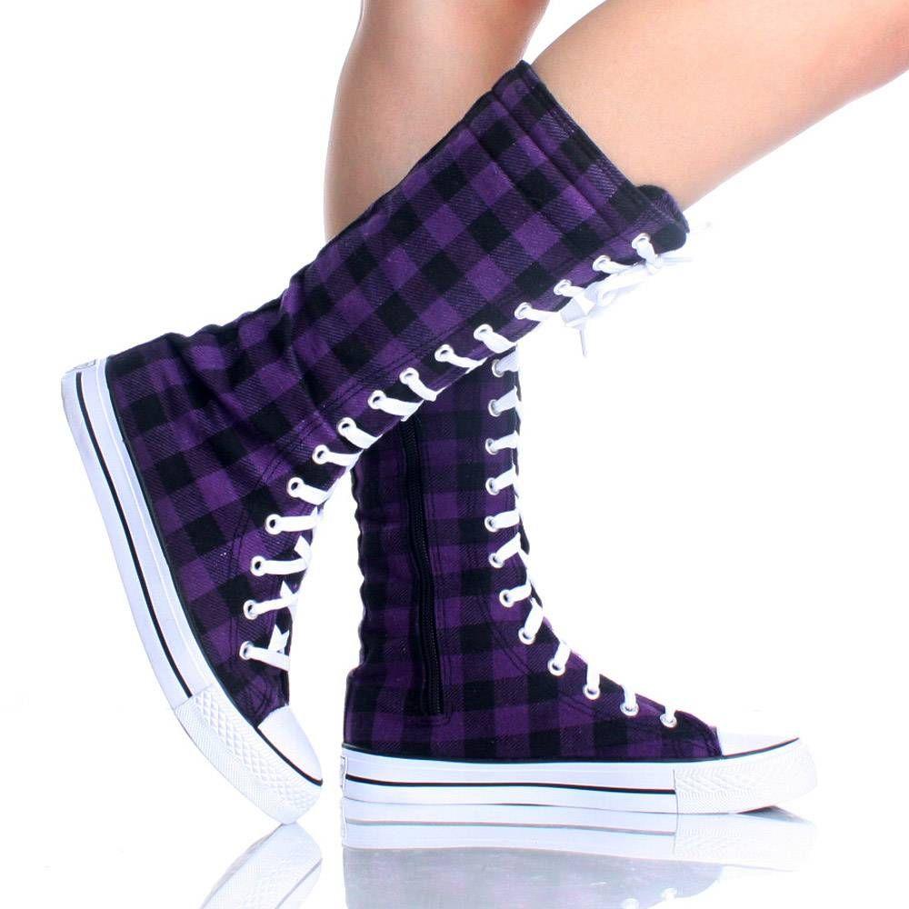 purple flats | Purple Plaid Canvas Lace Up Punk Skate