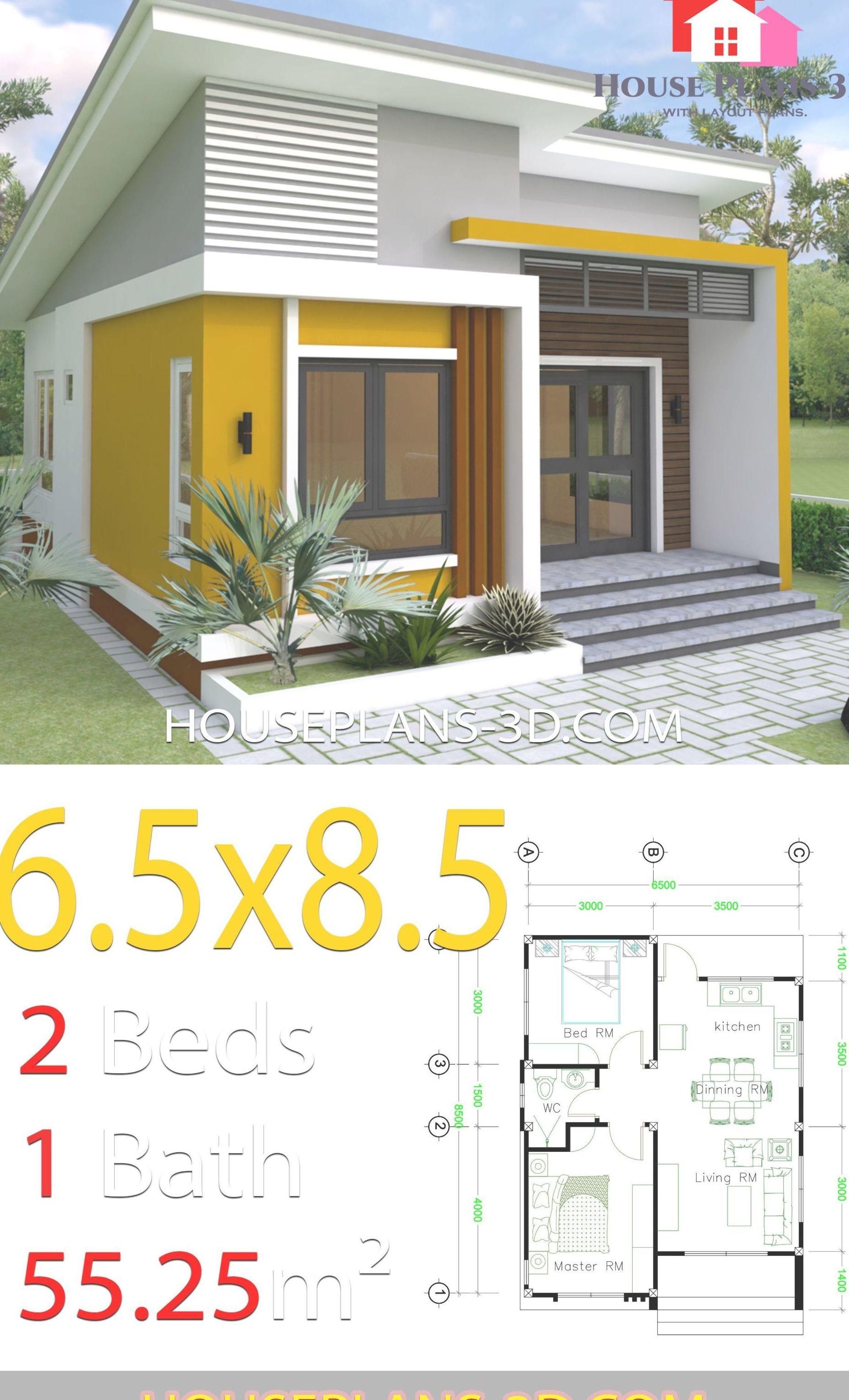Small House Design 6.5x8.5 With 2 Bedrooms House Plans