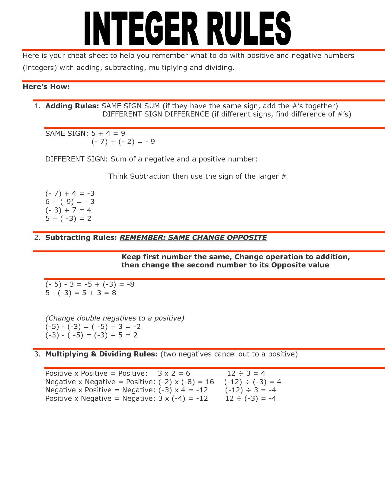 Fifth Grade Math Integers