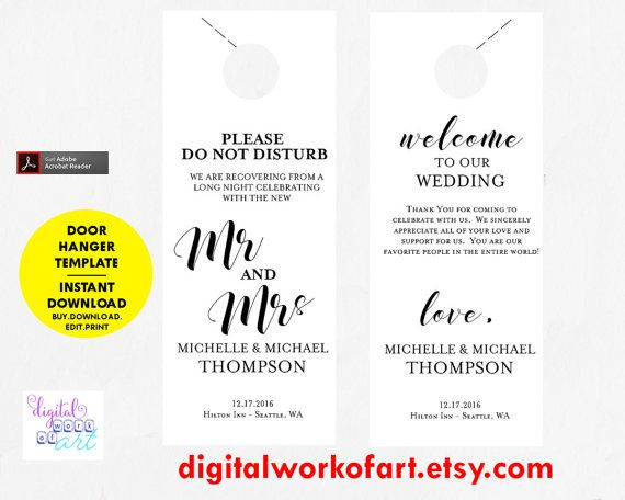 Wedding Door Hanger Template Door Hanger By Digitalworkofart