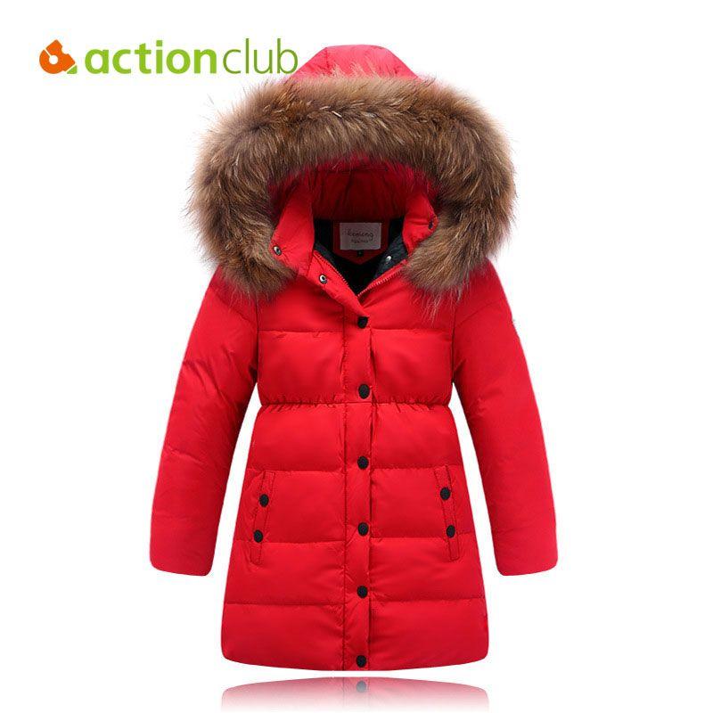 916e82eeb0b2 CR Winter Girl Overcoat Warm Hooded Solid Coat Children Casual ...