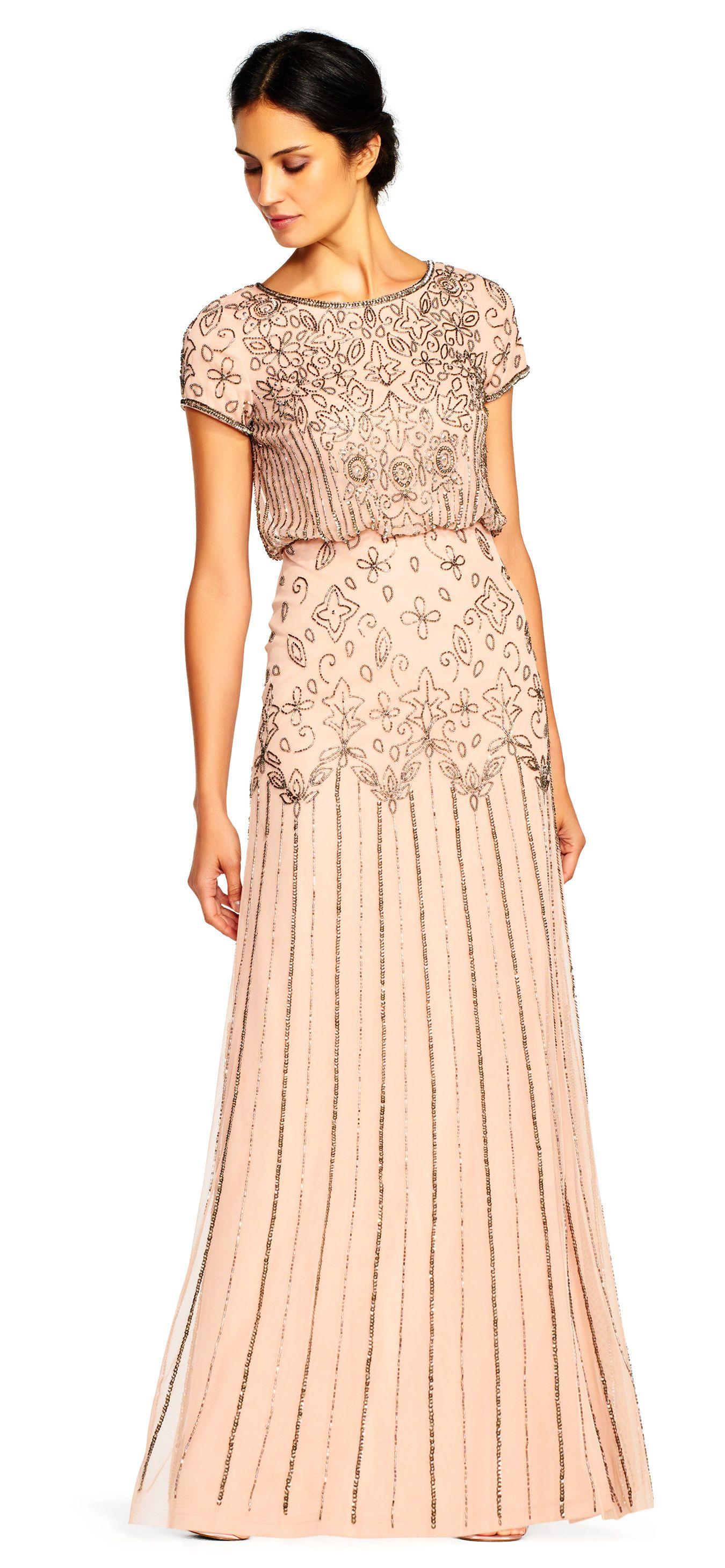 Adrianna Papell   Short Sleeve Blouson Beaded Gown   Dreamy dream ...