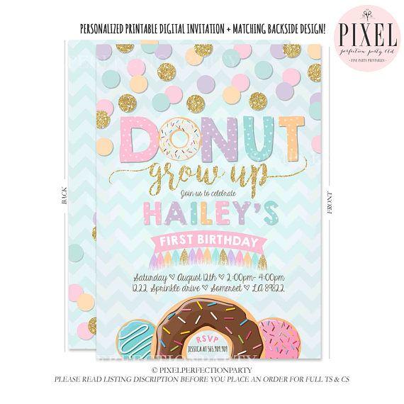 Donuts Party Invitation Catchmyparty Com 1st Birthday Party Invitations Donut Birthday Party Invitations Donut Themed Birthday Party