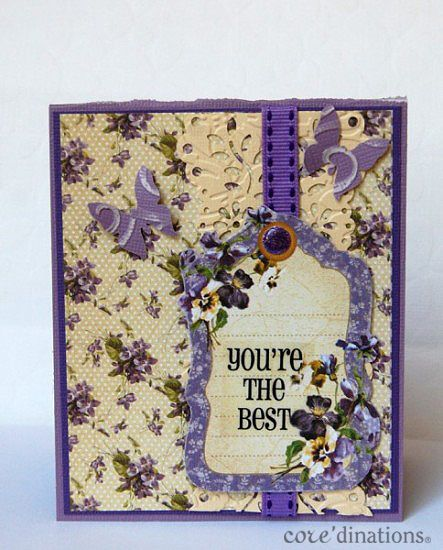 "Beautiful ""You're the Best"" Place in Time card by Debbie using Core'dinations cardstock #Graphic45 #coredinations #cards"