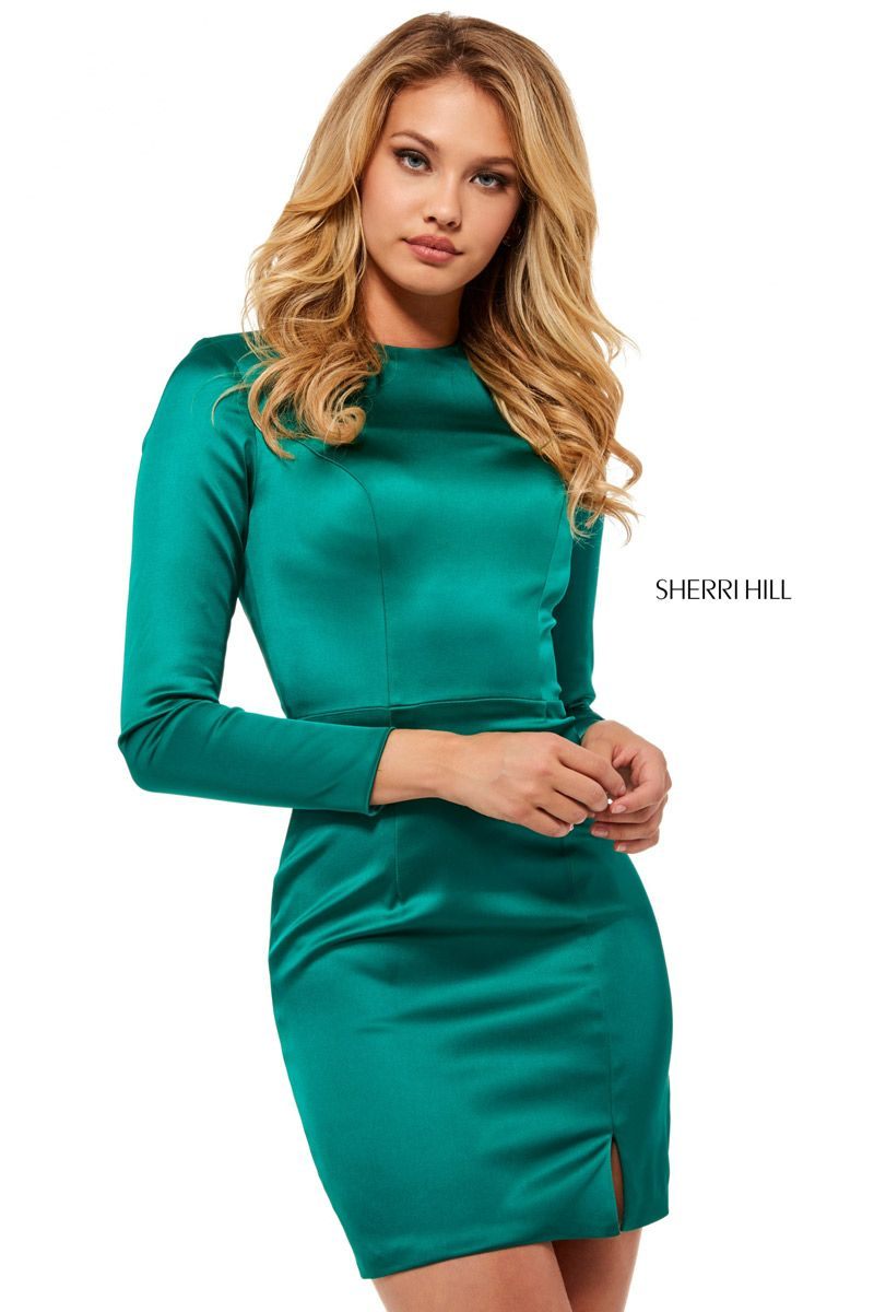 sherrihill  fitted  satin  sleeves  homecoming  girligirlboutique ... 43709a935
