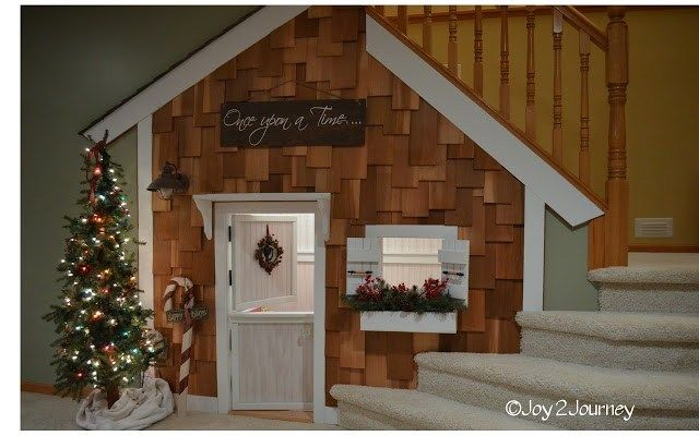 Best Under Stair Playhouse For Kids With Cedar Shake Shinges 640 x 480